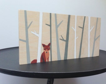 Fox Painting on Wood - Fox Nursery Art - Woodland Nursery Decor - Fox Art - Fox Nursery Decor - Fox Nursery Wall Art - Woodland Fox