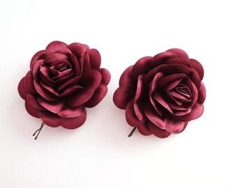 Dark Red Satin,  burgundy Flower, Wedding Bobby Pin