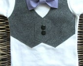 Baby Boy Clothes - First Birthday Boy - Baby Bow Tie - Baby Boy Vest  - Purple Lavender Bow Tie - Coming Home Outfit - First Easter Outfit