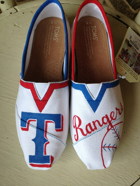texas rangers hand painted toms by brushandbow on etsy