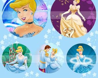 Cinderella (032) Digital Collage Sheet 4x6 bottle cap images .. Bottlecap glass tiles ..