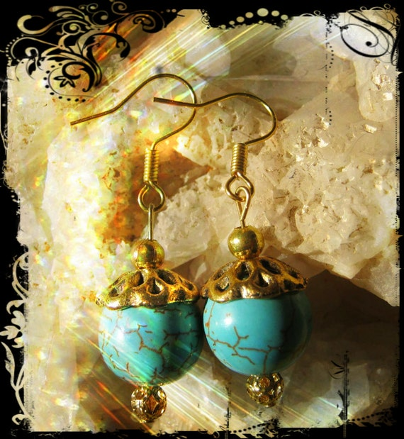 Handmade Gold Hook Earrings with Turquoise by IreneDesign2011