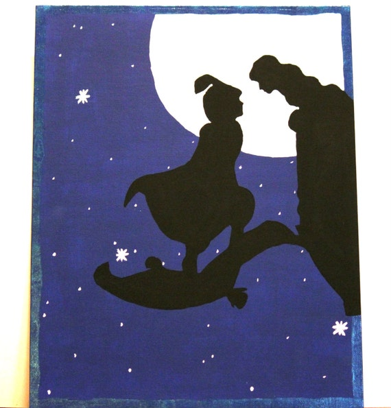 Unavailable listing on etsy for Aladdin and jasmine on carpet silhouette