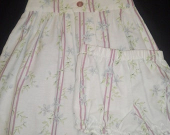 Size 4T Button Down Front Pleated Floral Print Sleeveless Dress with Matching Bloomers