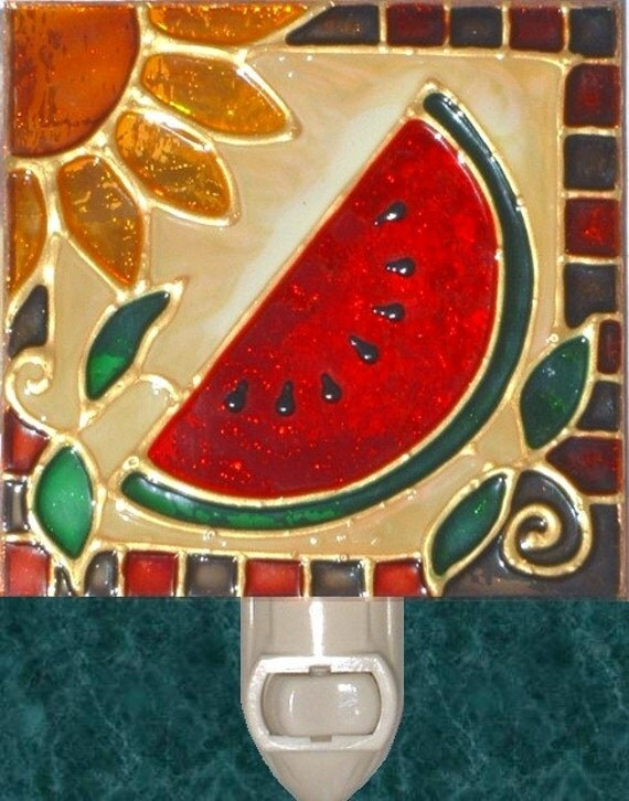 Decorative Watermelon Night Light Handmade Plug In By