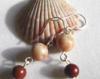 Pink Rhodonite Earrings with Red Jasper Dangles  ID 201