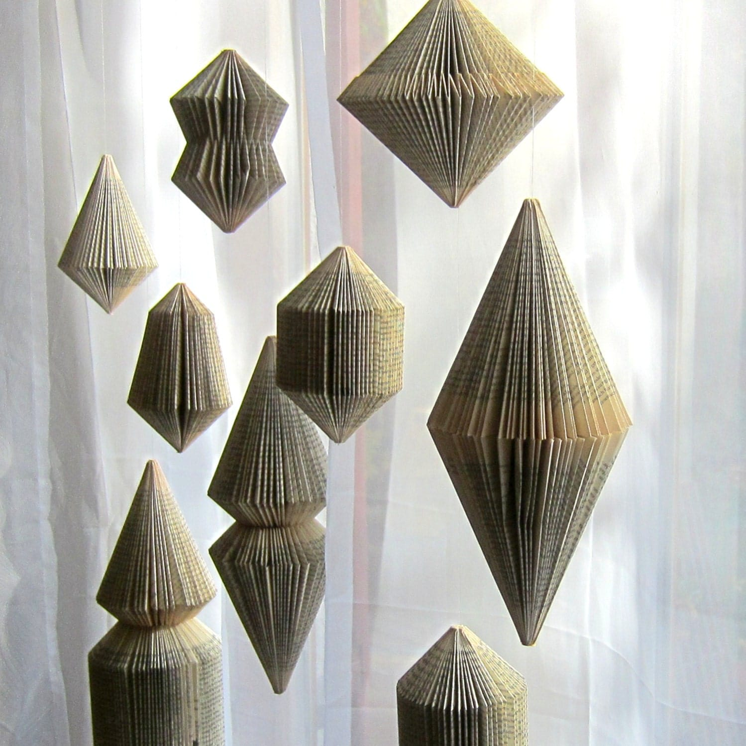 Book art hanging ornament folded book - Hanging christmas ornaments ...