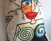 Picasso Tote Bag - Repurposed Silk Tote - Women's Tote Bags - Wearable Art - OOAK - Liquidshiva