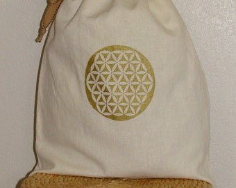 Eco- friendly reusable 8x8 gift bag- Organic Cotton and Hemp with Flower of Life print- Sacred geometry