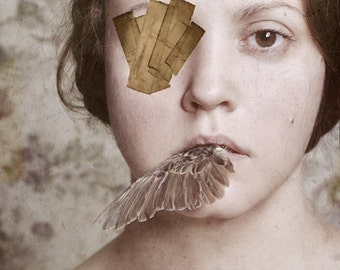 I Can't Look Away - FREE SHIPPING Surreal Photo Print Creepy Art Portrait Girl Bird Wing Mouth Eye Patch Tape Cream Brown Face Wall Decor