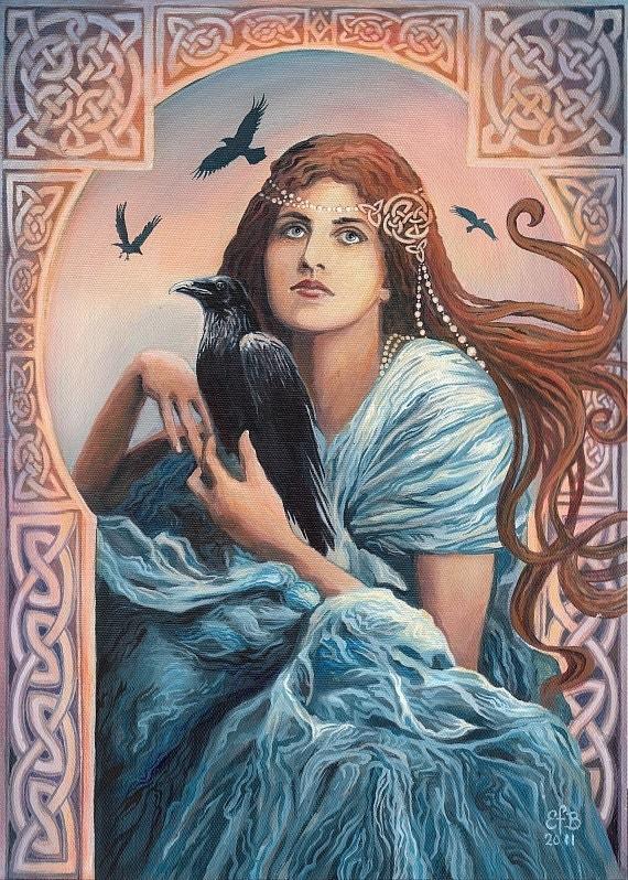 Goddess Art Mórríghan Celtic Witch Art Nouveau ACEO Mini Print Altar Art