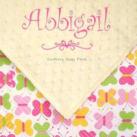 Personalized Baby Girl Blanket , Custom Minky Blanket for Girls - Butterfly and Minky Dot