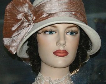 Flapper Hat Edwardian Tea Hat Church hat Gatsby Tea Hat Downton Abbey Hat Roaring Twenties - Lady Josephine - Ivory Hat