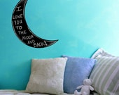 "Crescent Moon Chalkboard  Wall Decal - 26"" x 18"""