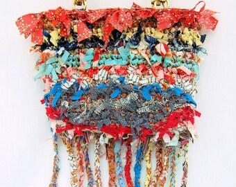 Hand made purse, crochet purse, boho bag, rag purse,  ooak bag, rag bag, shabby chic bag,  boho bag, purse, designer handbag