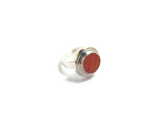 Mood Ring, Woman Ring, Terracotta Ring, Adjustable Ring, Ring Jewelry, Round Ring, Cocktail Ring, Brick Red Ring, Glass Ring, Stained Glass