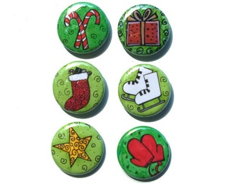 Christmas Magnets or Pinback Buttons - 1 Inch Holiday Magnets, Pin Back set, Red and Green, fridge magnets, party favors, cute badge, winter