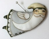 Flying Santa Christmas Ornament-- Original Folk Art-- Printed and Stuffed Fabric