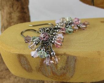 Sweet Tenderness baby pastel multicolor gunmetal finish Swarovski Crystal cascade french hook earrings