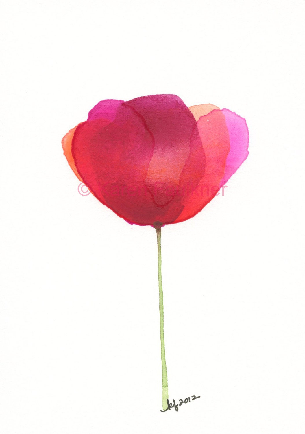 Watercolor Flower Art Print Of A Red Poppy By