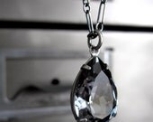 Black Diamond Crystal Teardrop Necklace, Grey Gray Swarovski Crystal Pendant, Oxidized Sterling Silver, Vintage Style Bridesmaid Jewelry