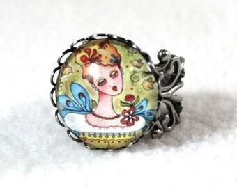 Silver Ring, Garden Girl Art Ring, Storybook Filigree Ring, Victorian Cocktail, Antique Silver Jewelry, Original Art Print, Green Blue