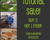 JEWELRY TUTORIALS, Bundle of Three Wire Wrapped BraceletTutorials - Butterfly, Classic WW and Free Form Cabochon Bracelets, Instant Download