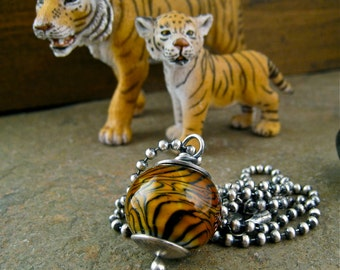 Tiger Lampwork Bead Necklace, Sterling Silver Forged Bead Caps, Fall, Autumn Fashion Gold Amber Black