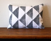 Arrow Pillow / Decorative Throw Pillow / Gray / White / Brown / Geometric / Triangle / Rustic / Hand Printed Pattern