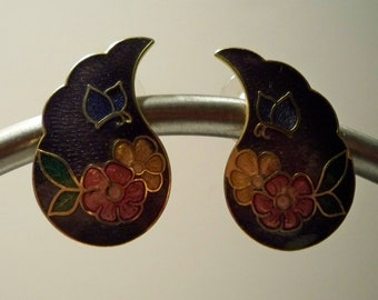 Butterfly Earrings, Vintage Purple Wing Earrings, Purple Cloisonne Earrings with Gold Outline on  Orange & Red Flowers and Blue Butterfly