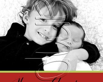 Diagonal Striped Holiday Photo Card