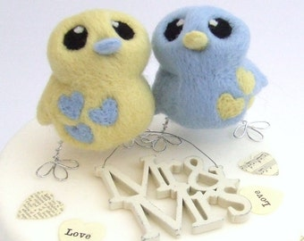 Bird Wedding Cake Topper Needle Felted Birds in Pale Blue and Butter Cream Pastels