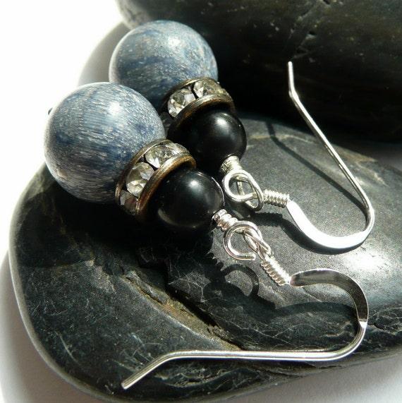 Blue Sponge Coral Rhinestone Onyx Sterling Silver Earrings