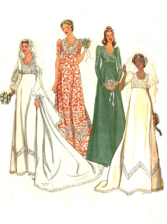 Empire waist wedding dress sewing pattern butterick 6182 for Butterick wedding dress patterns