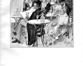 1908 - antique etching - At the Cafe de La Paix by A.B. Wenzell antique print