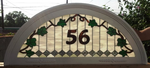 """Stained Glass Transom Window """"Diamonds and Vines"""" (TW-27)"""