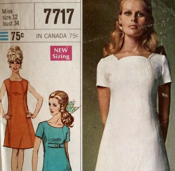 Vintage 1960s Mod Dress Pattern Simplicity 7717 Bust 34 Tulip Neckline