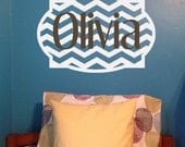 Chevron Monogram Personalized Frame Wall Decal