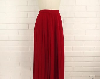 Vintage 80's Pleated Skirt, Apple Red, Size 10, College Prep School Girl, Heavy Weight, Winter Skirt