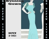 Vintage Sewing Pattern 1930's Evening or Wedding Gown with Gored Skirt in Any Size- Plus Size Included- Depew A-1051 -INSTANT DOWNLOAD-