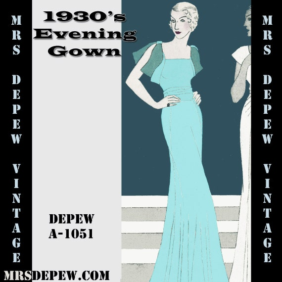 Vintage sewing pattern 1930 39 s evening or wedding gown with for Wedding dress patterns free download