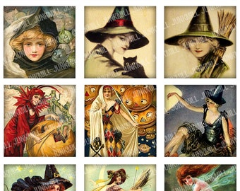 "WISTFUL WITCHES - Digital Printable Collage Sheet - 2"" x 2"" Squares - Pretty Victorian Witches & Vintage Halloween Pin-Ups, Digital Download"