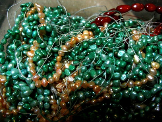 Pearls, tiny, 5 to 6mm, 3 strands, green and peach BARGAIN  TeamESST, TeamBJD, WWWG, paganteam, OlympiaEtsy, Dollmakers