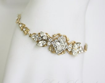 Gold Wedding Bracelet Rhinestone Bridal bracelet Swarovski Crystal Art deco Wedding Jewelry  KATRINA CRYSTAL