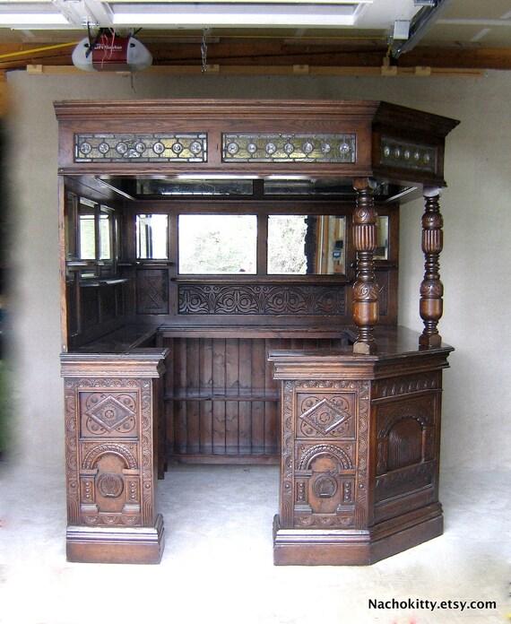 English Corner Pub Bar Saloon, Antique, Wood, Glass, Mirrors