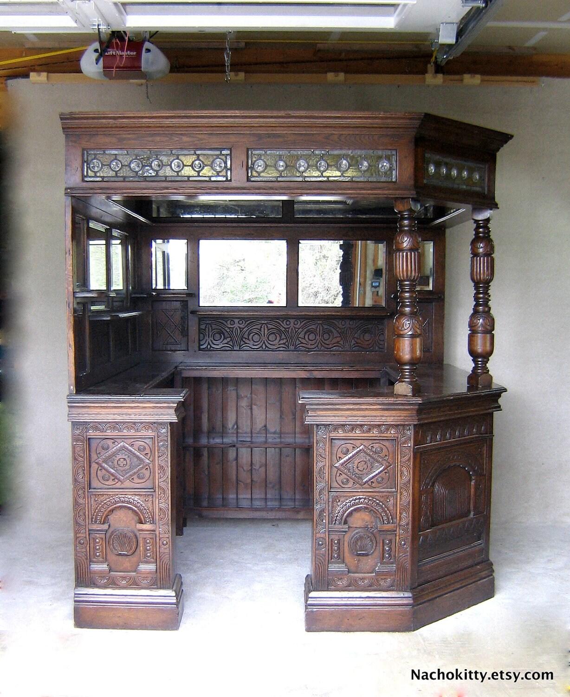 English Corner Pub Bar Saloon Antique Wood Glass By