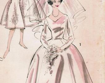 1960s Advance 9302 UNCUT Vintage Sewing Pattern Misses' Bridal Gown Size 12 Bust 32, Size 14 Bust 34