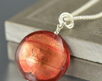 Valentine's Day gift Orange Murano glass pendant with chain sterling silver gifts for her