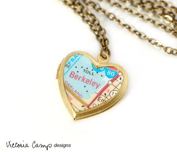 Berkeley Map Necklace, Vintage Brass Heart Locket, California, Travel, Bay Area, Gift under 40