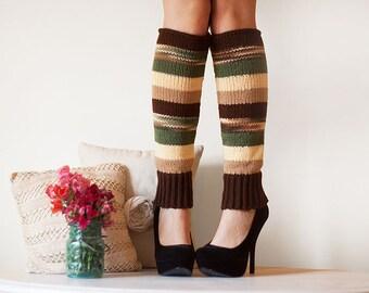 Knit Leg Warmers Knit Boot Socks Adult Legwarmers Womens Striped Leg Warmers Knee High Leg Warmers Green Yellow  Beige Brown